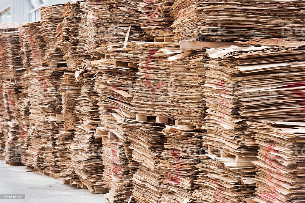 Stacks of wood veneer stock photo