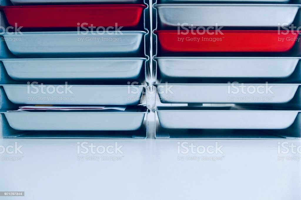 Stacl pf silver and red colored stationery boxes stock photo