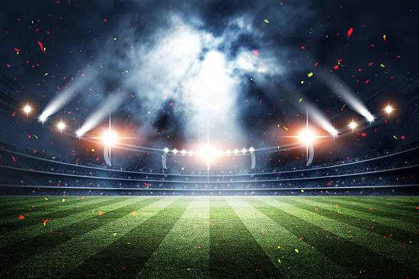 stadium, 3d rendering - amerikanischer football stock-fotos und bilder
