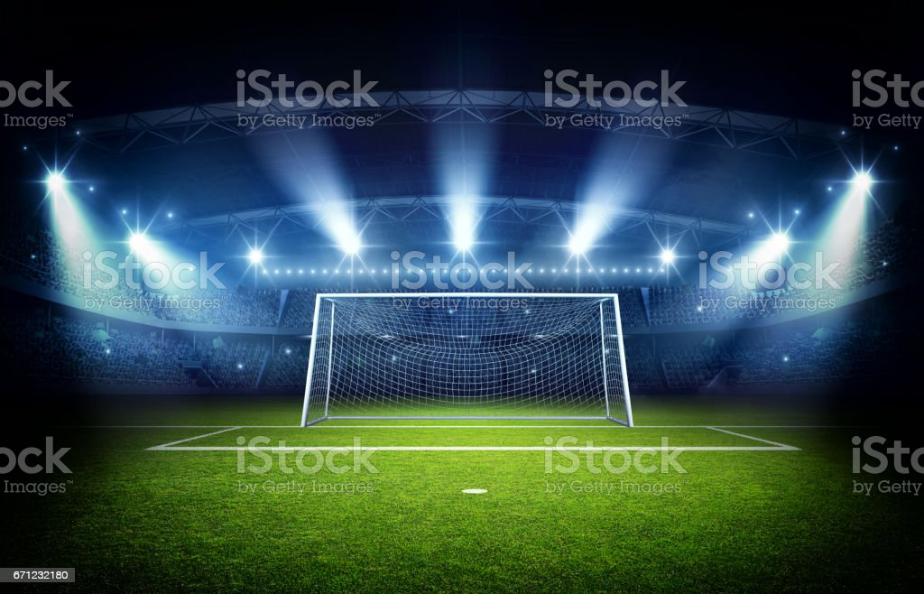 Stadium and goal post, 3d rendering stock photo