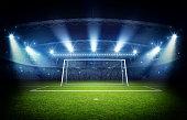 Stadium and goal post, 3d rendering