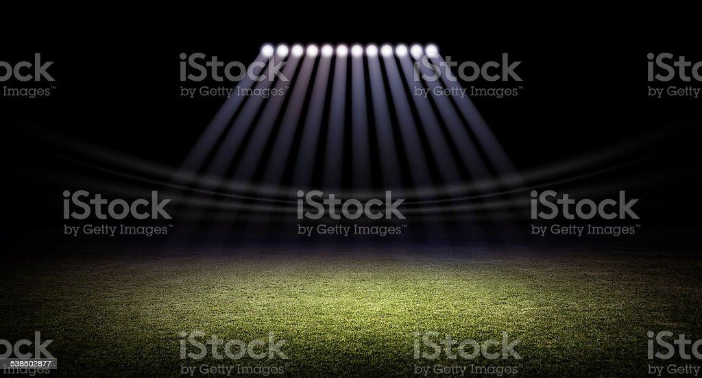Stadium and lights stock photo