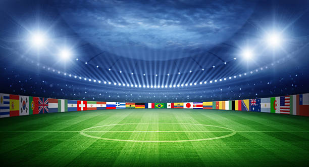 Stadium and nations teams flags stock photo