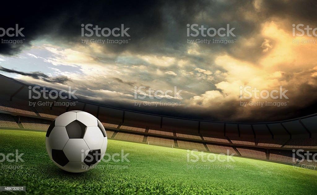 Estádio e bola de futebol - foto de acervo
