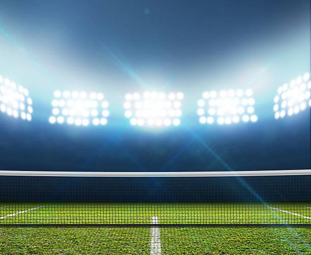 Estadio y cancha de tenis - foto de stock