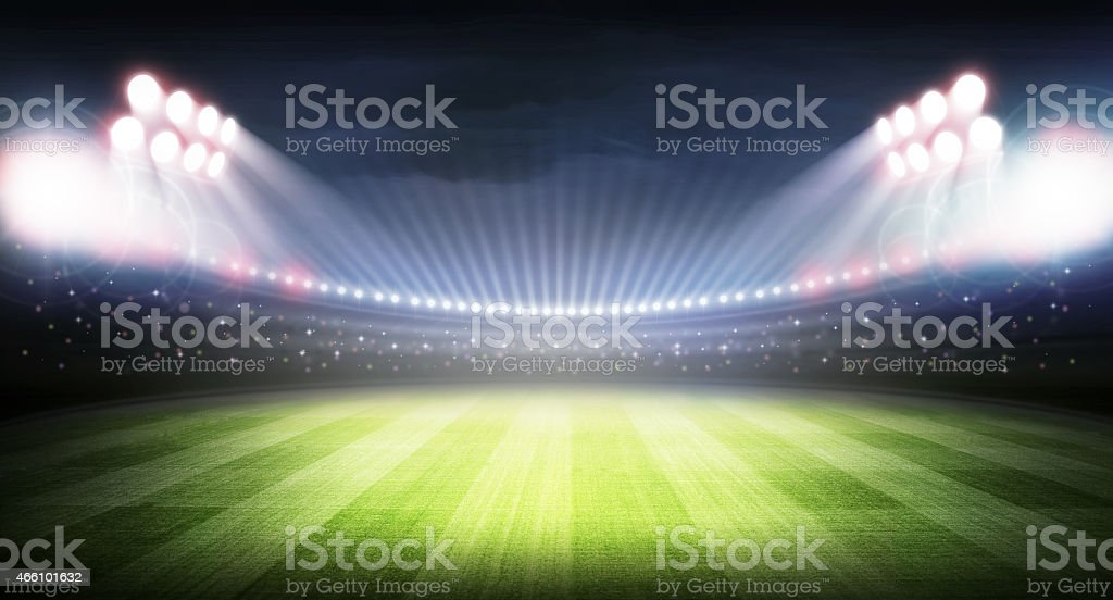 Stadium at night stock photo