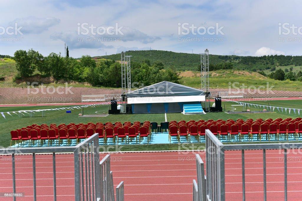 stadium before graduation ceremony stock photo