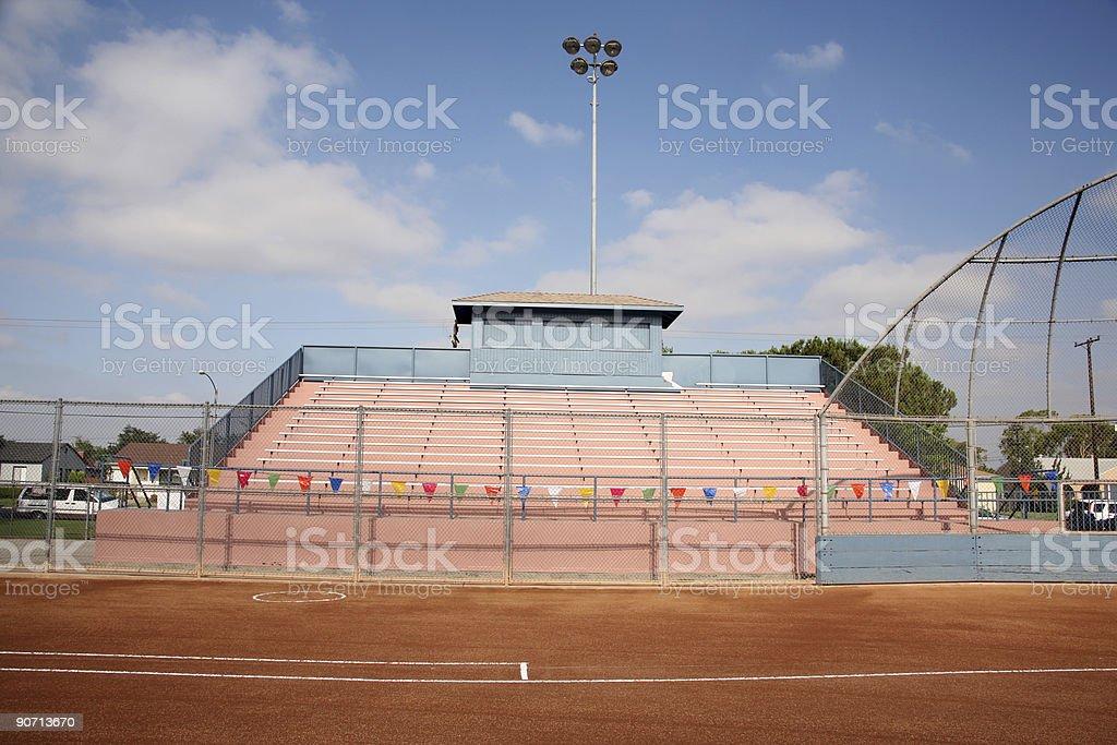 Stadium bleachers and backstop royalty-free stock photo