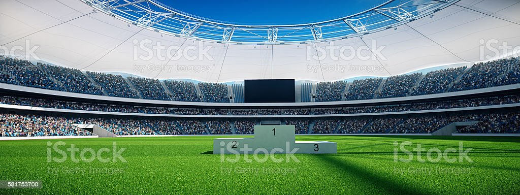 stadium by day with winner stairs, blue sky. 3d rendering stock photo