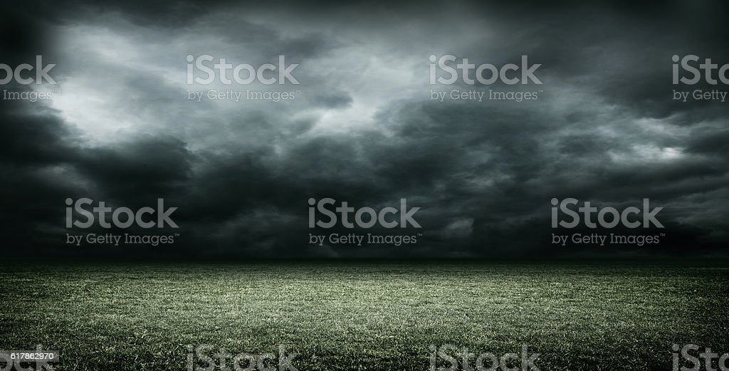 stadium dark clouds 3d rendering stock photo