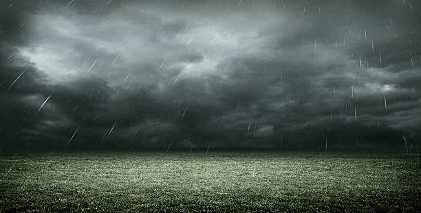stadium dark clouds with rain, 3d rendering stock photo