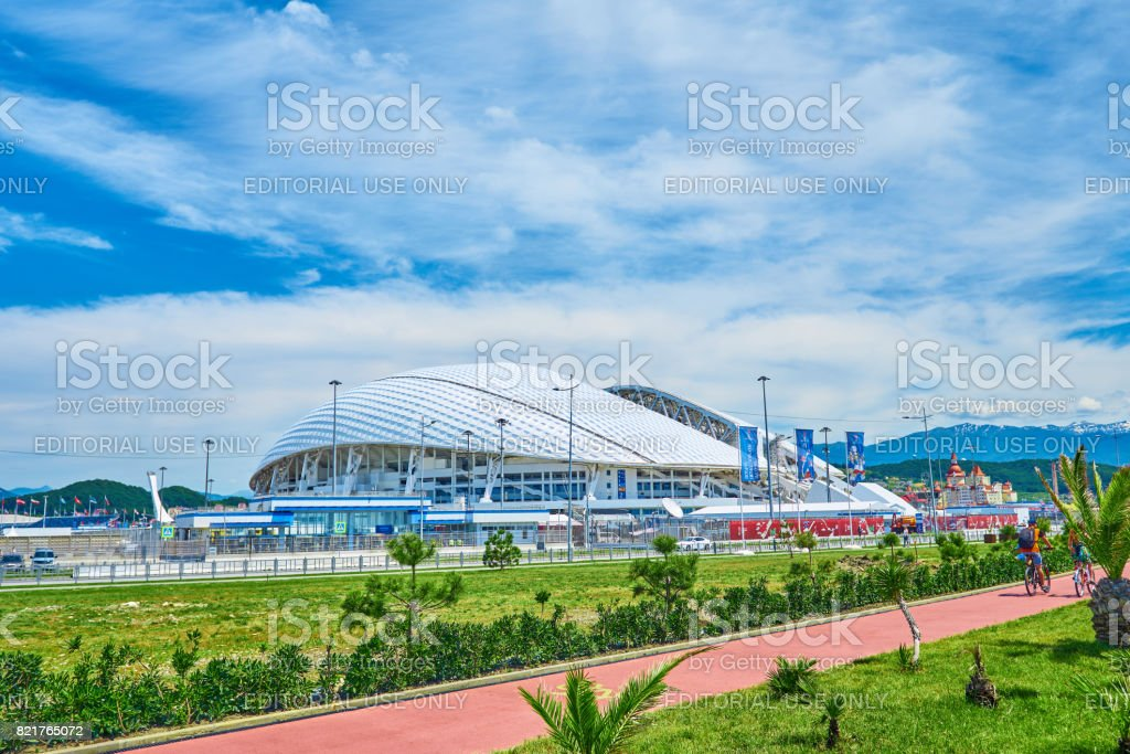 SOCHI, ADLER, RUSSIA - JUNE 18, 2017: Stadium Fisht at Olympic Park in Sochi stock photo