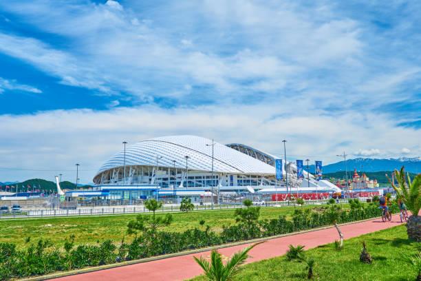 SOCHI, ADLER, RUSSIA - JUNE 18, 2017: Stadium Fisht at Olympic Park in Sochi SOCHI, ADLER, RUSSIA - JUNE 18, 2017: Stadium Fisht at Olympic Park in Sochi sochi stock pictures, royalty-free photos & images