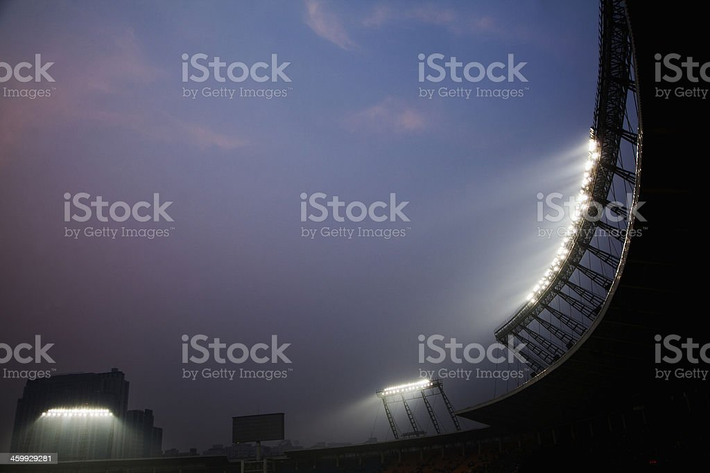 Stadium floodlights at night time, Beijing, China stock photo