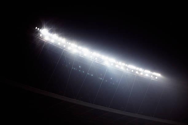 Stadion-Flutlicht an der Nachtzeit, Peking, China – Foto