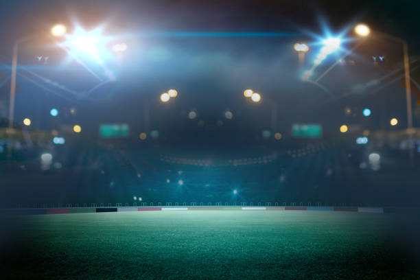 stadium in lights and flashes. Mixed photos stock photo
