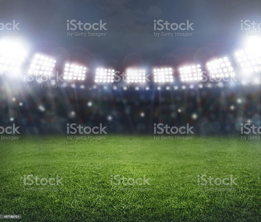stadium in lights stock photo