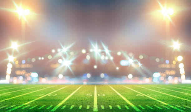 stadium in lights American Soccer Stadium 3d rendering soccer field stock pictures, royalty-free photos & images
