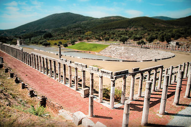 stadium in the city of Ancient Messina, Peloponnes, Greece stock photo