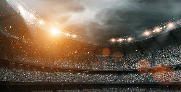 stadium light 3d rendering - stadion stockfoto's en -beelden
