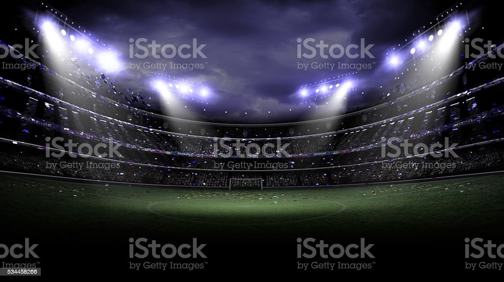 stadium light at night stock photo