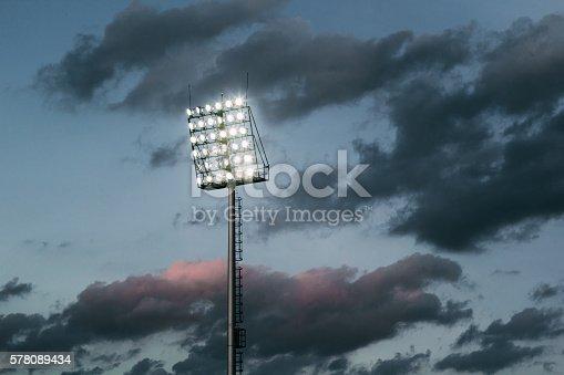 stadium lights and dark sky