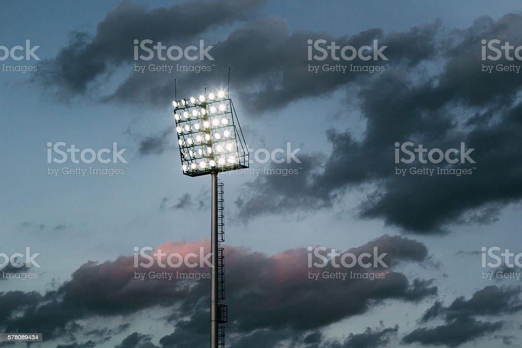 stadium lights and dark sky stock photo