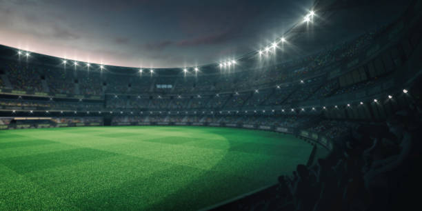 Stadium lights and empty green grass field with fans around, perspective tribune view grassy field sport building 3D professional background illustration sport of cricket stock pictures, royalty-free photos & images
