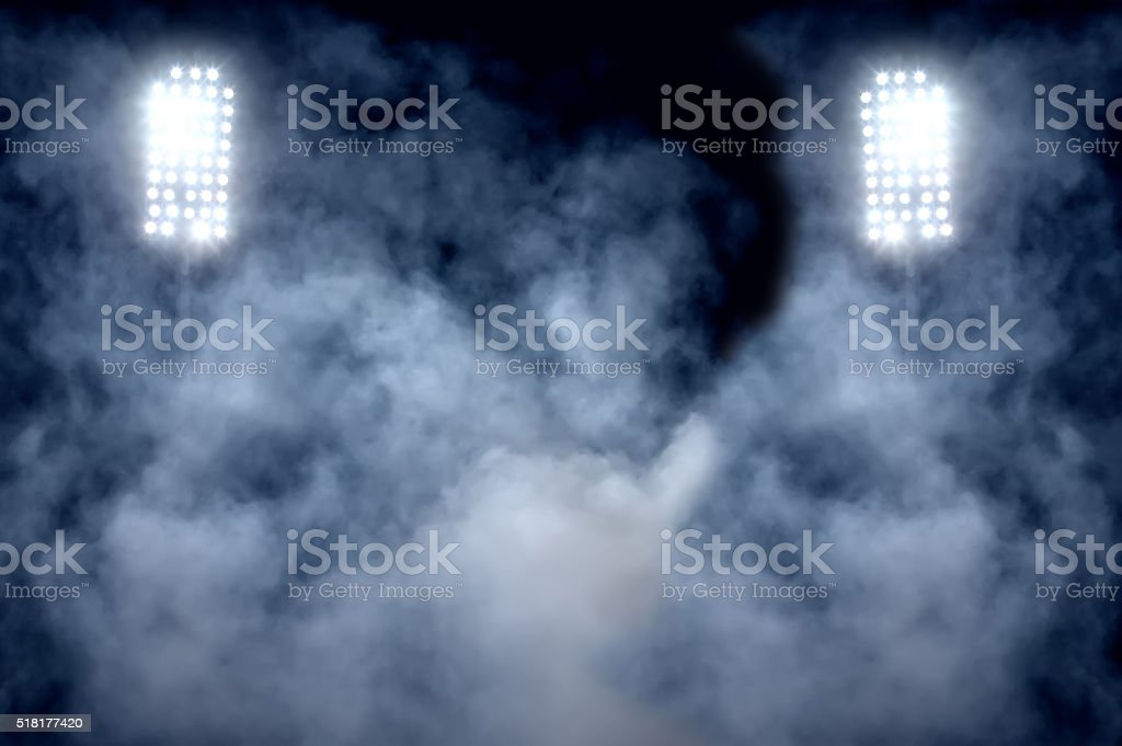 Estadio luces y humo - foto de stock