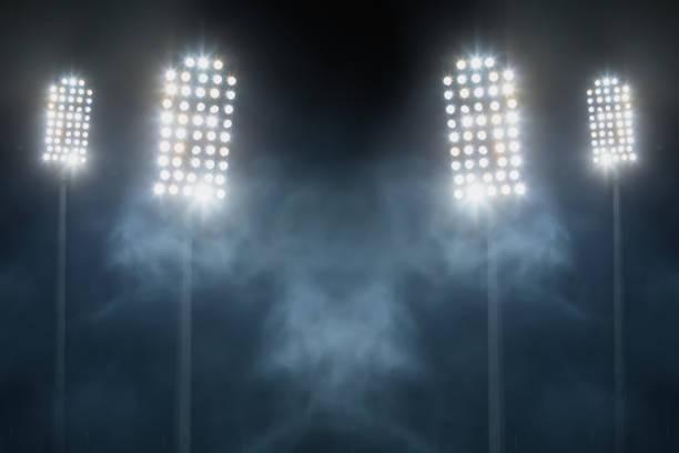 stadium lights and smoke