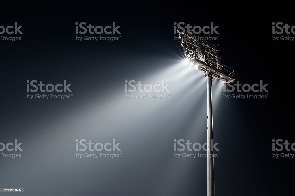Stadium lights from behind, left wiev stock photo