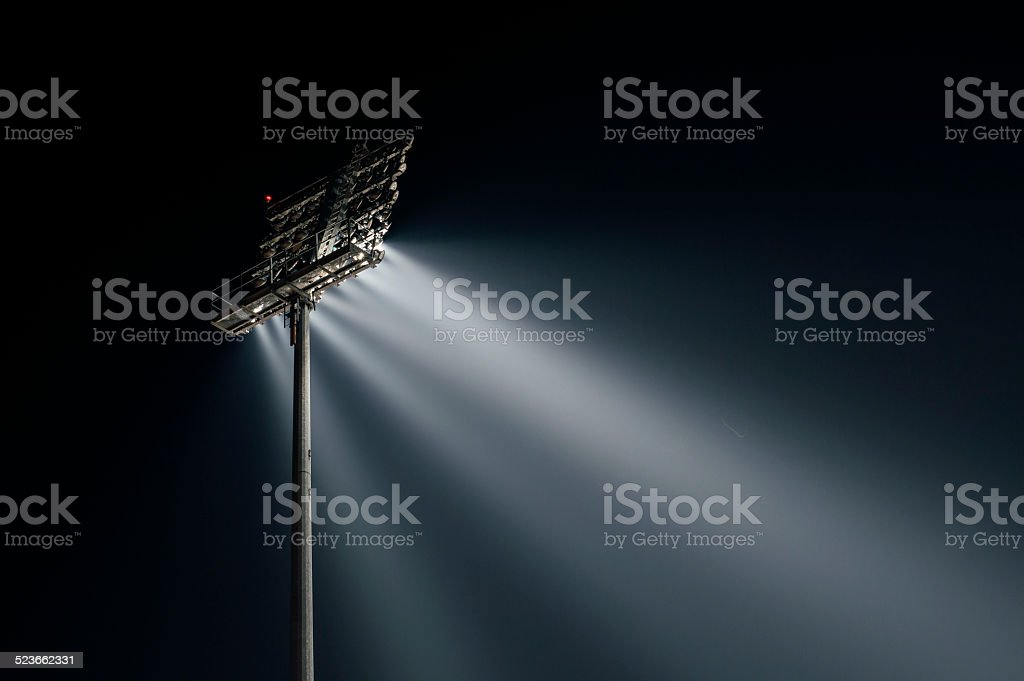 Stadium lights from behind, right wiev stock photo