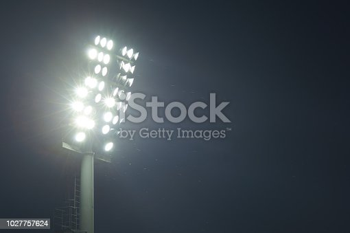 istock Stadium lights turned on and some insects at night 1027757624
