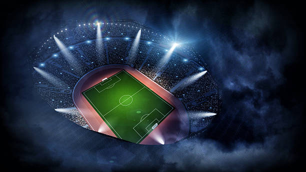 Stadium night 3d stock photo