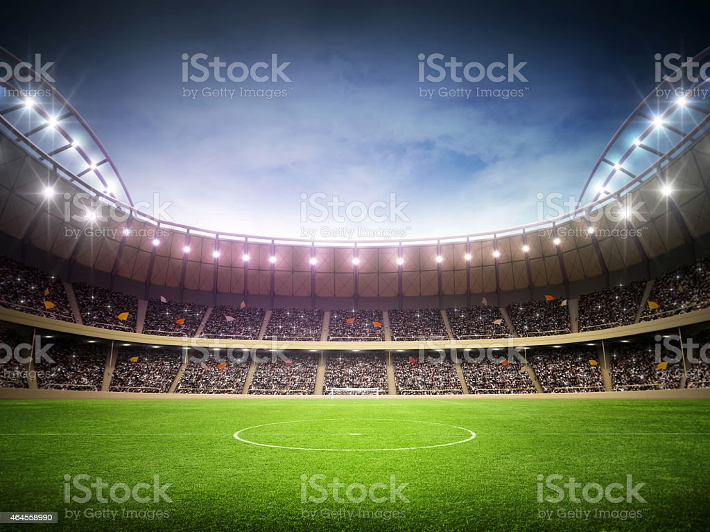 Stadium night in a soccer stadium stock photo