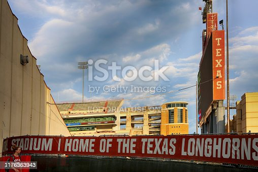 AUSTIN, Texas - September 21, 2019: Darrell K Royal Texas Memorial Stadium at the campus of University of Texas. Texas Longhorns.