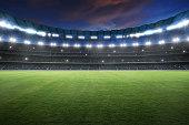 Stadium with spotlight and empty green grass. NIght scene .