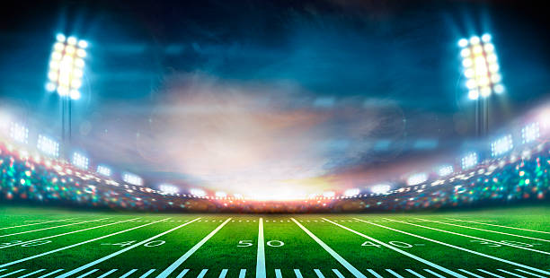 stadium Sunny football stadium american football field stock pictures, royalty-free photos & images