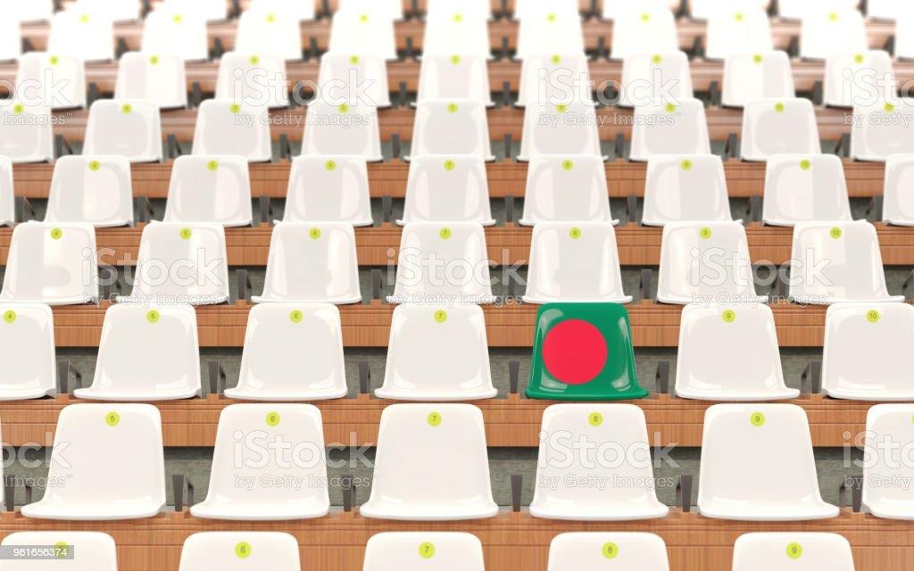 Asiento del estadio con la bandera de bangladesh - foto de stock