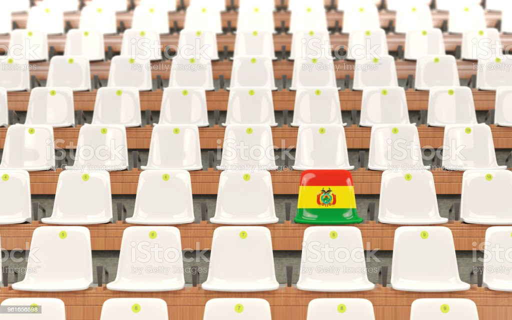 Stadium seat with flag of bolivia stock photo