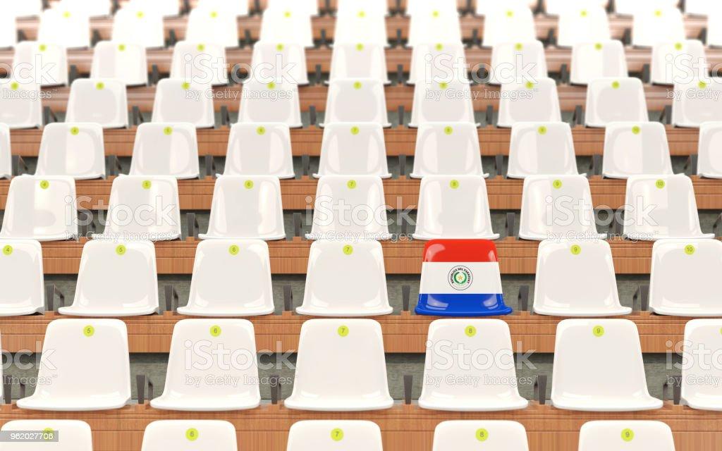 Asiento del estadio con la bandera de paraguay - foto de stock