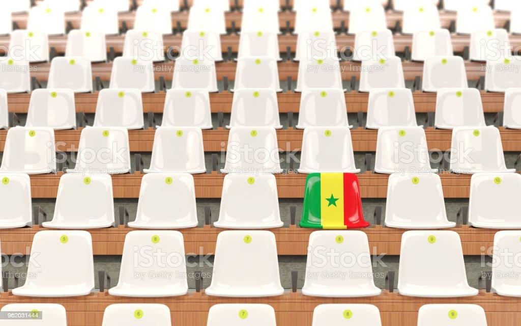 Assento do estádio com a bandeira do senegal - foto de acervo