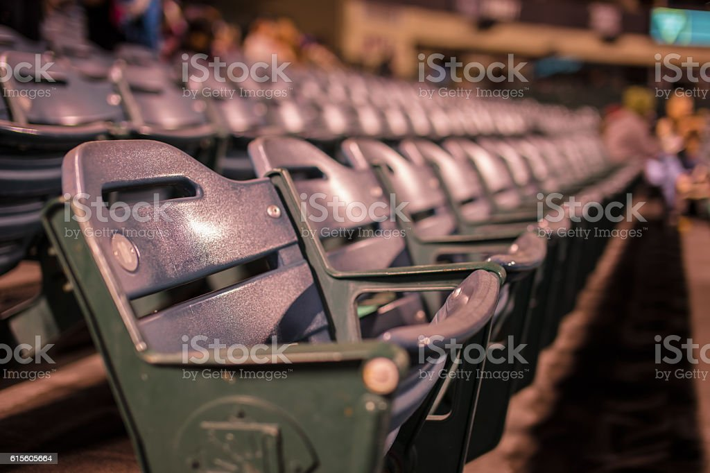 Stadium seating during the night stock photo