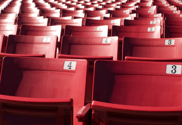 stadium seats bleachers sporting entertainment venue - baseball sport stock photos and pictures