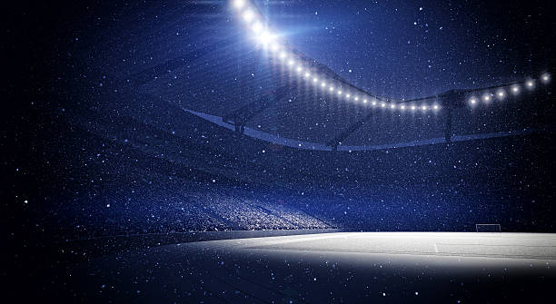 stadium, snowfall - sports event stock photos and pictures