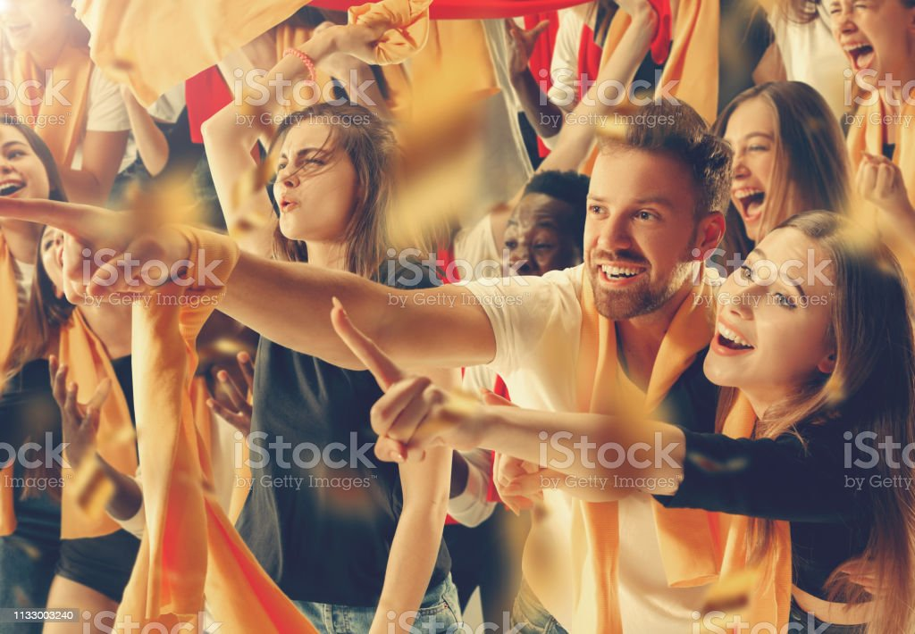 Group of happy fans are cheering for their team victory. Collage with...