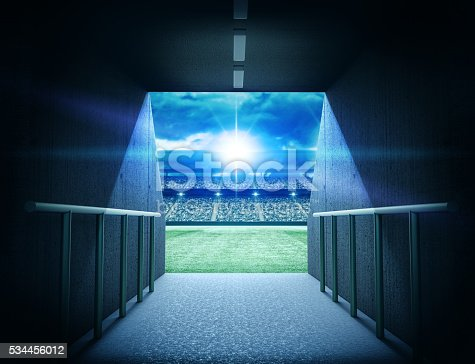 The imaginary stadium tunnel is modelled and rendered.