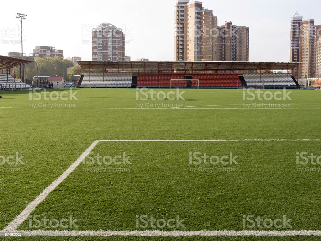 Stadium with a field for socce royalty-free stock photo