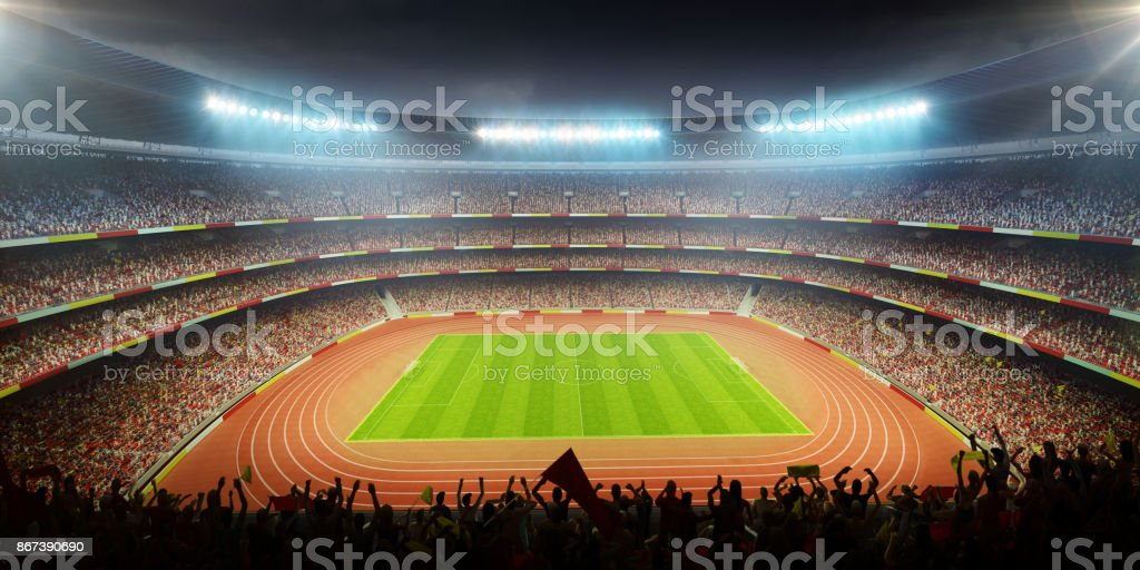 stadium with cheering fans stock photo