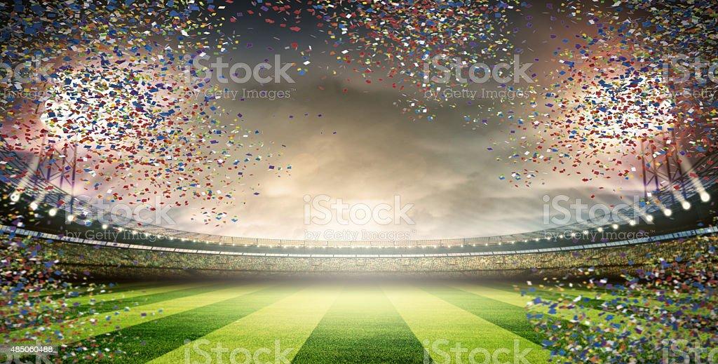 stadium with confetti stock photo